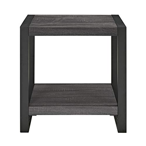 WE Furniture AZ24CGSTCL Side Table, Charcoal