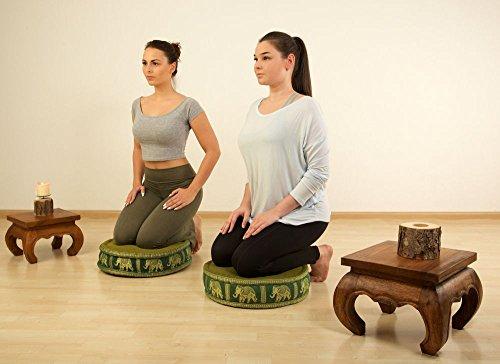 Zafukissen Seide mit Kapokfüllung,Sitzkissen der Marke Asia Wohnstudio, Meditationskissen bzw. Yogakissen, rundes Sitzkissen / Bodenkissen hellrot / Elefanten