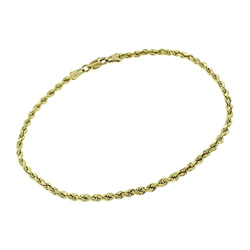 14k Yellow Gold 2.5mm Hollow Rope Diamond-Cut Link Twisted Anklet Bracelet Chain 10