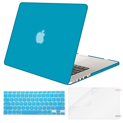 MOSISO Case Only Compatible MacBook Pro (W/O USB-C) Retina 13 Inch (A1502/A1425)(W/O CD-ROM) Release 2015/2014/2013/end 2012 Plastic Hard Shell & Keyboard Cover & Screen Protector, Aqua Blue