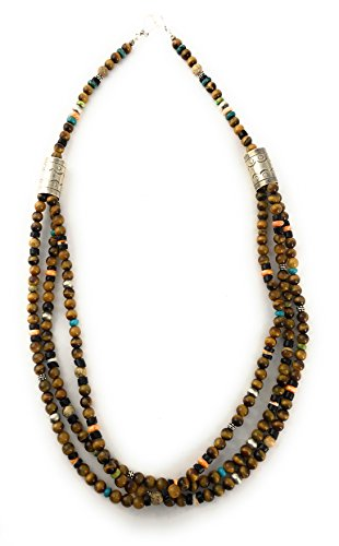 Masha Storewide Sale ! Sterling Silver Necklace By Tigers Eye, Made in USA - Exclusive Southwestern Handmade Jewelry, 4 Strand Gift by Masha