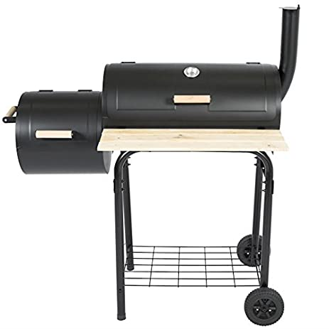 Elegant Charcoal BBQ Grill With Casters Barrel Grill And Offset Smoker Outdoor Patio  Deck Backyard Yard Barbecue