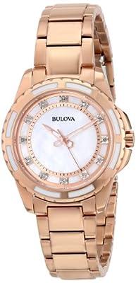 Bulova Women's 98P141 Analog Display Japanese Quartz Watch in Rose-Gold Tone