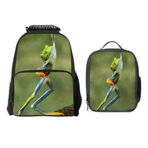 SARA NELL Boys Girls Students Hip Hop Funny Frog Polyester School Backpack and Lunch Bag 2 Sets