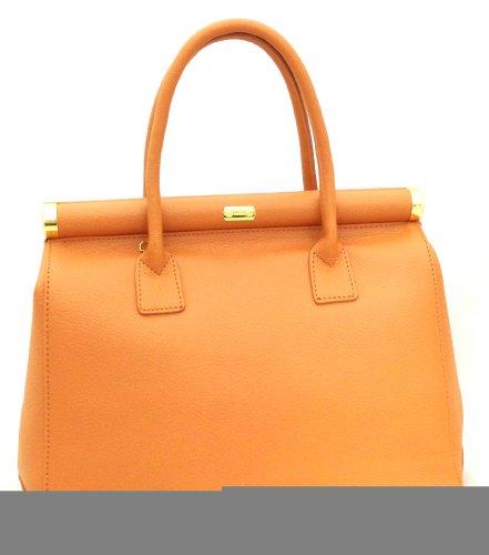 Satchel in Bag Italy Moutarde en bandoulière véritable femme cuir poignées 35x28x16cm CTM élégante Beige Made 48RwURx