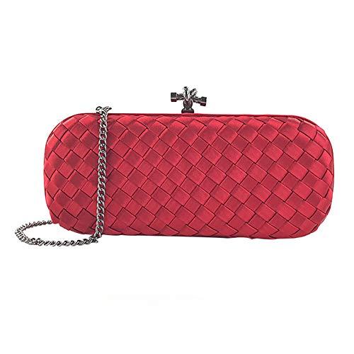 Il Seta Frizione Frizione Messenger Signora Tessuta Della Portafoglio Sposa Sera Tessuto Bags La Di banchetto Spalla Partito Sacchetto Red Cw8qII