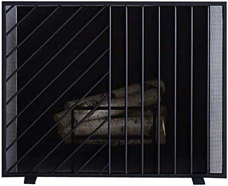 暖炉用品・アクセサリ 錬鉄製フラットファイアースクリーンスパークガードメッシュ、ウッドバーナー/ストーブ/ガス火災用ベビーセーフプルーフエンバープロテクター、38×8×30インチ (Color : Black)