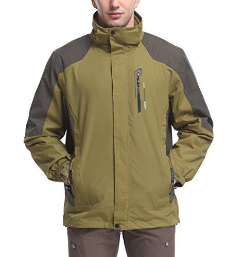 MOHEEN Men's Waterproof Mountain Jacket Ski Windproof Coat With Hooded Outdoor, Green L (Tag XL) (Windstopper Hooded Shell Jacket)