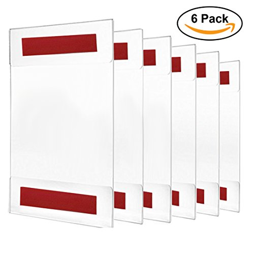 Acrylic Sign Holder / Display 8.5 x 11 or 11 x 8.5 – Sign Holder w/ Industrial Strength Adhesive Tape, No Drilling, No Screws, No Mess, Very Simple to install either Vertical or Horizontal, 6 PACK