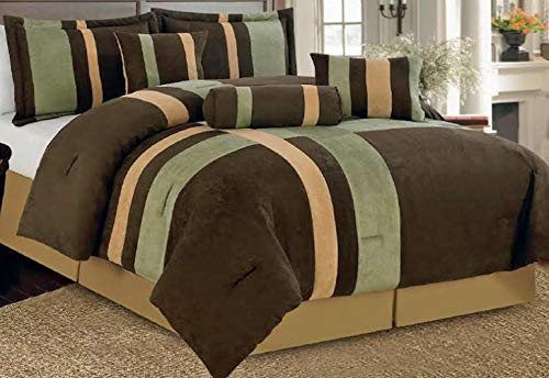 Legacy Decor 7 Piece Brown, Beige, and Sage Micro Suede Comforter Set Machine Washable Bed-in-a-Bag Set Queen Size ()
