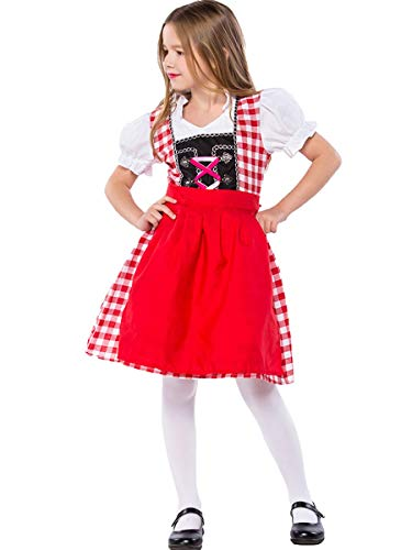 MYRISAM Girls Bavarian Oktoberfest Costumes Dirndl Dress with Apron Beer Maid Fancy Dress Carnival Halloween Costume Red 8-9T]()