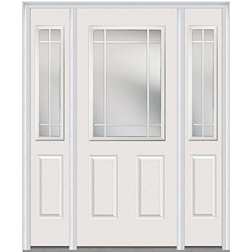 National Door Company Z005513L Steel, Brilliant White, Left Hand In-swing, Exterior Prehung Door, Internal Grilles 1/2 Lite 2-Panel, 36''x80 with 14'' Sidelites by National Door Company