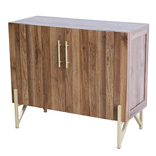 roomfitters Mid Century Side Board, Dining Room Server, Credenza, Buffet Table with Storage, Elegant Warm Walnut Finish with Gold Legs...