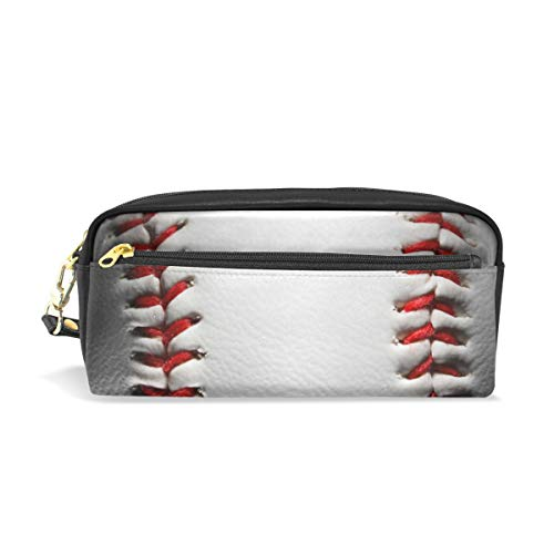 Pencil Case Big Capacity Pencil Bag Makeup Pen Pouch Closeup Baseball Durable Students Stationery Pen Holder for School/Office