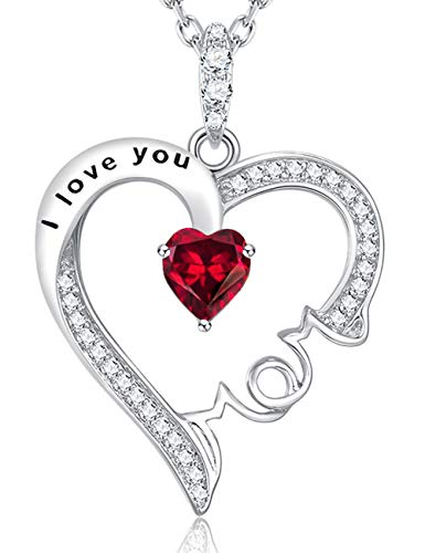 July Birthstone Red Ruby Necklace ❤️ I Love You Mom Heart Necklace ❤️ Heart Pendant Sterling Silver Jewelry Anniversary Birthday Gift for -