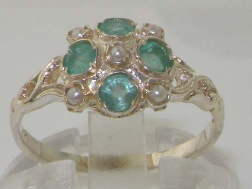 925 Sterling Silver Cultured Pearl and Emerald Womens Cluster Ring – Sizes 4 to 12 Available