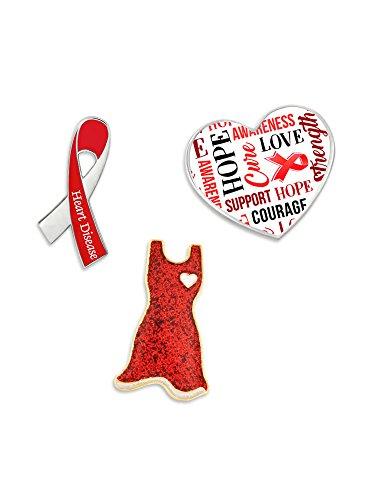 PinMart's Red Heart Disease Awareness Ribbon Enamel Lapel Pin Set