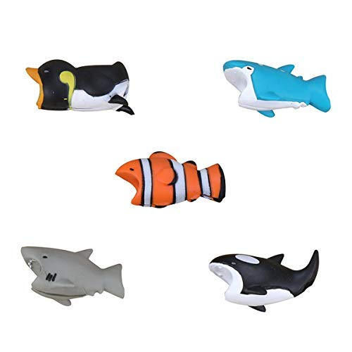 Epessa 5 PCS Cable Bites for iPhone Cable, Marine Animals|Terrestrial Animals|Dinosaurs and Fish|Animal Bite Cable Protector are Available (Marine Animals) by Epessa (Image #1)