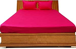 Brightlinen Hot Pink Double (135 X 190 Cm) Fitted Sheet Solid(pocket Size: 34 Cm) 3pcs
