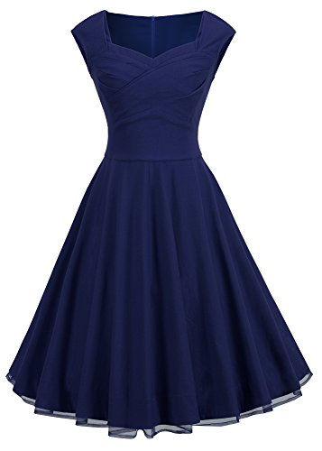 HOMEYEE Women's Vintage Floral Lace Splicing Shift Retro Party Dress A003 (X-Large, Dark Blue)