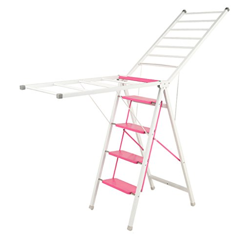 4 Step Ladders With Foldable Laundry Drying Rack, Metal Mult