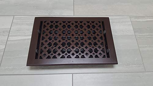 Floor Registers 8X12 for Home Décor - Elegant Re-Paintable Cast Aluminum HVAC Floor Vent with Metal Damper, Decorative Hardware for Living Room, Durable, Sand Casted, Powder Coated, Matte Flat - Brown
