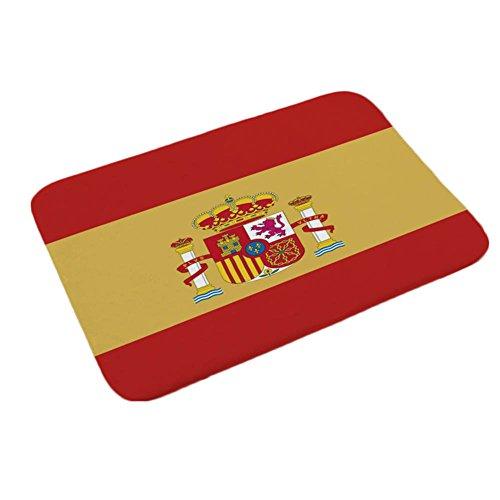BIBITIME Spain Flag Indoor Outdoor Entrance Rug FIFA World Cup Soccer Fans Bedroom Non-slip Front Door Floor Mats Doormat,15.74''x23.62'' by BIBITIME