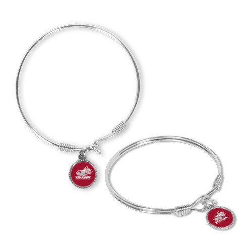 Rose Hulman Silver Bangle Bracelet With Round Pendant 'Official Logo'