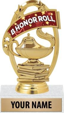 Honor Roll Trophies - 5'' B Honor Roll Student Scholastic Trophy 50 Pack