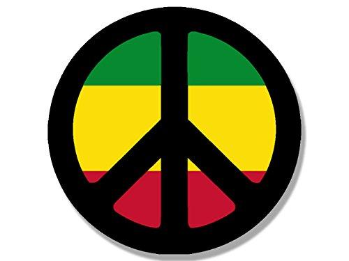 American Vinyl Round Peace Symbol with Rasta Colors Sticker (Rastafari Weed Pot Reggae)