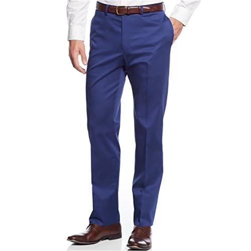 423598b13233e1 85%OFF Calvin Klein Extra Slim Royal Blue Solid Cotton Flat Front New Men's  Dress