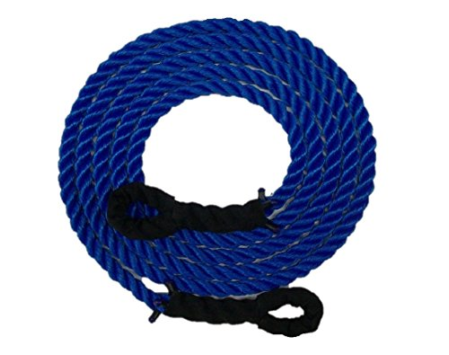 Blue Tow Rope - TRIPLE S ROPE Tow Rope Heavy Duty Polypropylene with Loops, 12,500 LBS Breaking Strength for Mid Size Pickups and Cars, Made in the USA 1 inch in diameter (40 Feet)