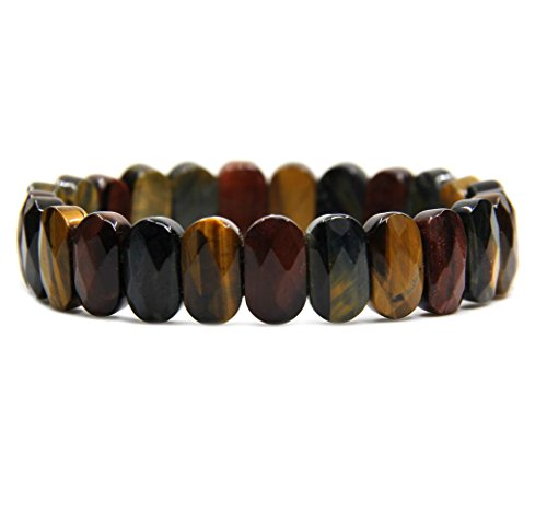 Multicolor Tiger Eye Gemstone 14mm Faceted Oval Beads Stretch Bracelet 7