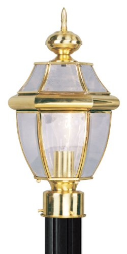 Livex Lighting 2153-02 Outdoor Post with Clear Beveled Glass Shades, Polished - Post Large Outdoor Brass Polished