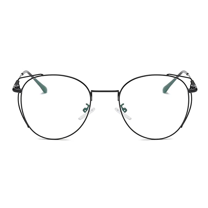 ae864fc90e0e LUOMON Minimalist Round Cat-Eye Black Frame Eyewear Non-Prescription  Eyeglasses EG18011