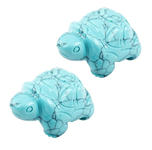 SUNYIK Green Howlite Turquoise Turtle Tortoise Pocket Statue Figurines Bookend Aamulet Fengshui Pack of (Turquoise Turtle)