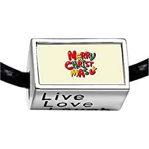 Chicforest Silver Plated words for merry christmas Photo Live Love Laugh Charm Beads Fits Pandora Bracelet