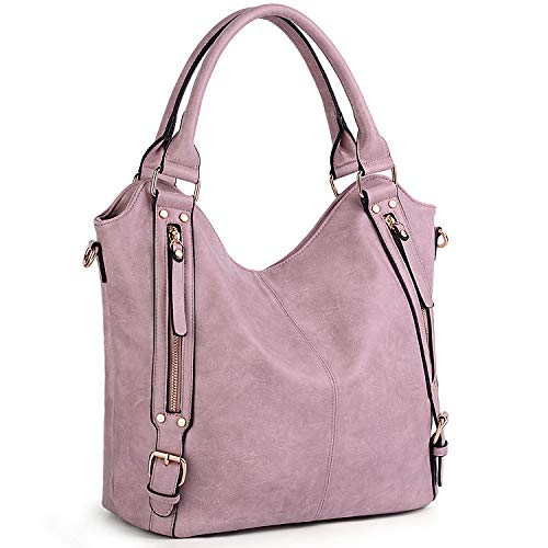 Purses and Handbags for Women UTO PU Leather Large Shoulder Tote Bag with Strap Light Purple