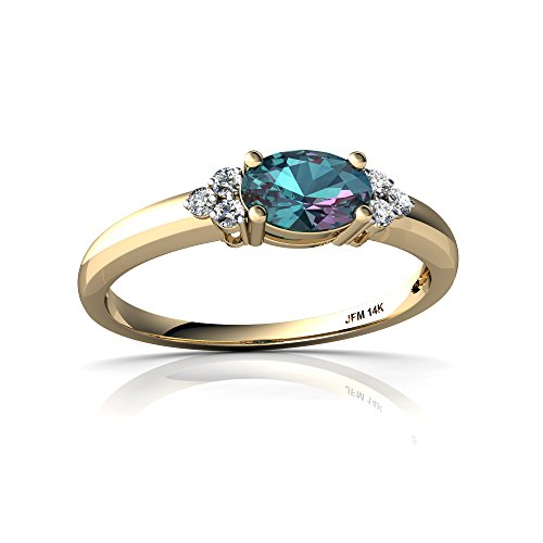 14kt Yellow Gold Lab Alexandrite and Diamond 6x4mm Oval Simply Elegant Ring - Size 7.5