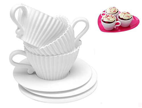 Baking Cups,4 Sets Silicone Reusable Cupcake Liners Muffin Cup Saucers Mold (total 8 pcs) by ()