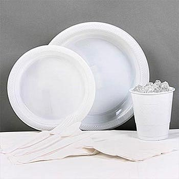 White Plastic Party Pack For 20 by ShindigZ by ShindigZ