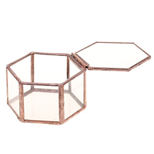 Jili Online Mini Copper Faceted Hexagonal Clear Glass Jewelry Box Tabletop Home Decoration