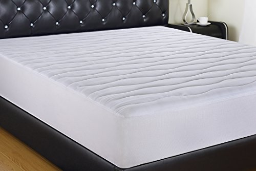 ALLRANGE Luxury 300TC Hypoallergenic Quilted Fitted Cotton Down Alternative Mattress Pad,Fits up to 22
