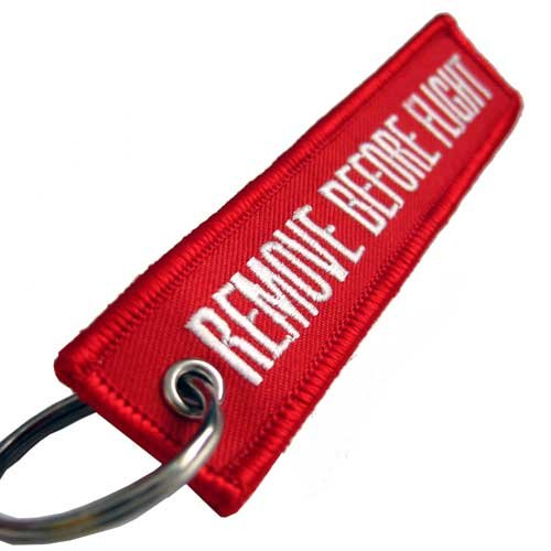 Flight Tags (Graphics and More Remove Before Flight Embroidered Keychain, Red)