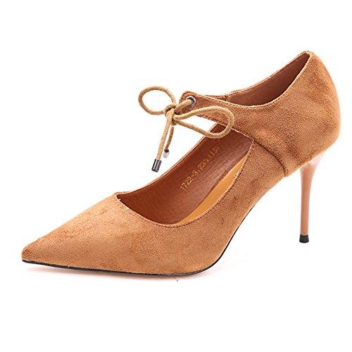 Komfortabel Seicht CN37 5 Mund Elegant größe Pumps Schwarz Schnürsenkel UK4 YIXINY Heels Damen 5 Schuhabsatz Farbe Und EU37 Binden Frühling High Fein 2338 RvxBnX