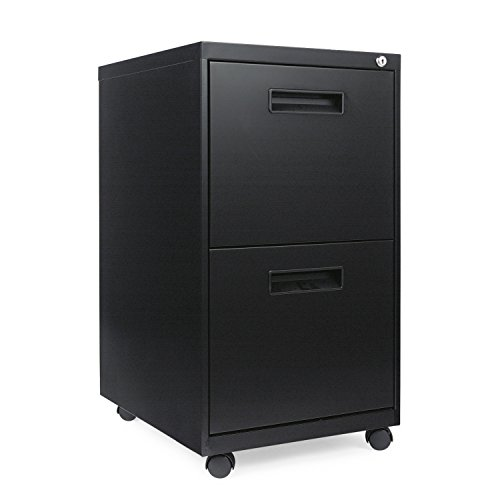 Alera ALEPAFFBL Two-Drawer Metal Pedestal File, 14 7/8w x 19-1/8d x 27-3/4h, Black by Alera