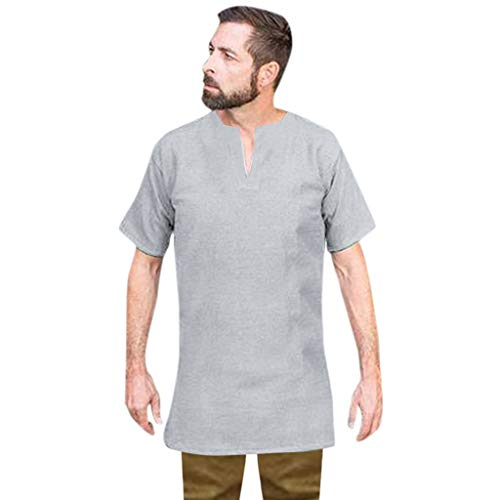 Zackate Men's Vintage Medieval Knight Gothic Retro Solid Color Long Cotton Short Sleeve V-Neck Shirt Gray (Stores Furniture Gta)