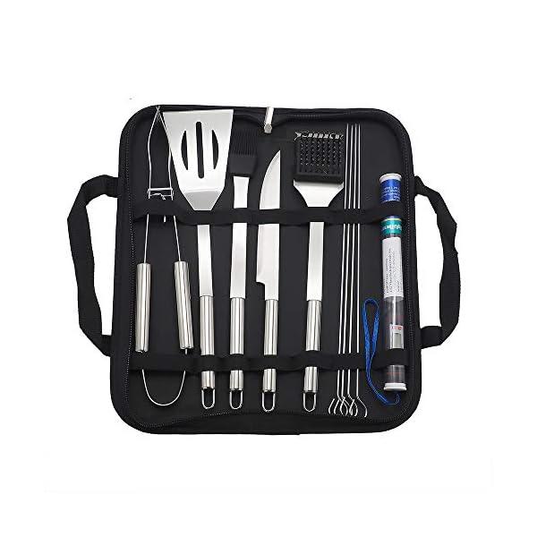 IAMXXYO 11PCS Barbecue Barbecue Tool Set con Termometro, Acciaio Inossidabile Grigliare Kit per La Cucina, Prefetto… 3 spesavip