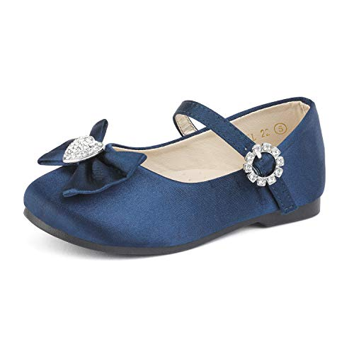 - DREAM PAIRS ANGEL-22 Mary Jane Front Bow Heart Rhinestone Buckle Ballerina Flat New Navy Satin 8 M US Toddler