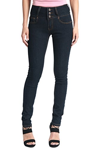 TheMogan Women's Hip Up Butt Lifting High Waist Denim Skinny Jeans Super Dark 0